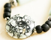 Turquoise and Black Mosaic Magnesite Necklace