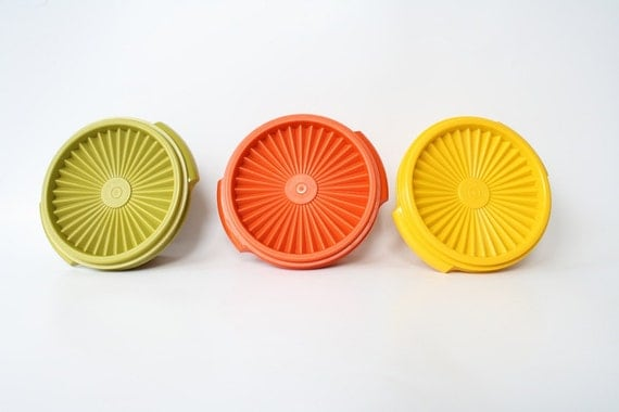 Tupperware Containers, Vintage 1970s Tupperware, Orange Green Yellow Tupperware, Servalier BowlVintage Plastic Container, Food Storage