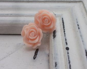 Small Peach Rose Earrings