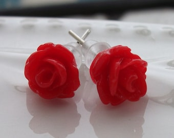 Tiny Red Rose Earrings