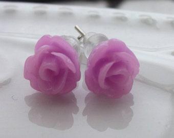 Mini Lilac Rose Earrings