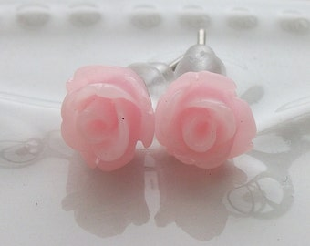 Tiny Light Pink  Rose Earrings