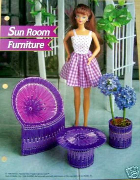 Items Similar To Plastic Canvas Barbie Fashion Doll Pattern Sun Room Furniture On Etsy