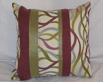 Blue Green Purple 16 x 16 Pillow