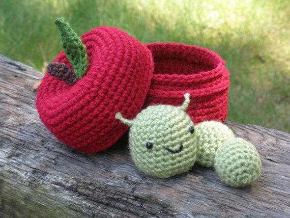 Apple Worm Teacher Crocheted Apple With Worm