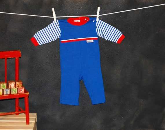Vintage 1980s Health-tex Blue and Red Boys Jumpsuit One Piece, Size 9 Months