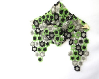 Hand Crochet Flowery Scarf,  For Her, Accessories, Scarves, Fashion Accessories, Grey, Black, Green, READY TO SHIP,