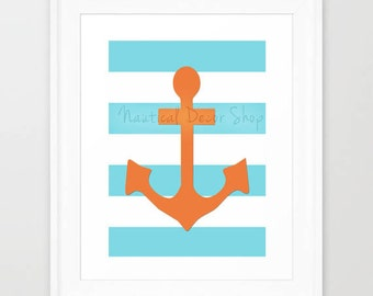 Instant Download Anchor Print, Nautical Print, Anchor Wall Art, Nautical Nursery, Nautical Anchor Downloadable Nursery Decor