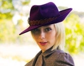 Plum Rabbit Fur Western Inspired Angular Ladies Hat - The CLAIRE Hat