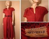 vtg 1940s winfield dress. red black print. beautiful details. in pristine condition. 38 bust. 29 waist.SUMMER SALE!