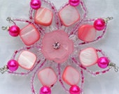 Pink Flower Hair Clip Brooch Hair Accessories Hot Pink Beaded Accessory