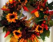 fall sunflower and hydrangea wreath
