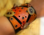 Leather Bracelet Leather Cuff Leather Jewelry Leather Wristband Celtic Vintage Horn Buttons eyelet cuff OOAK