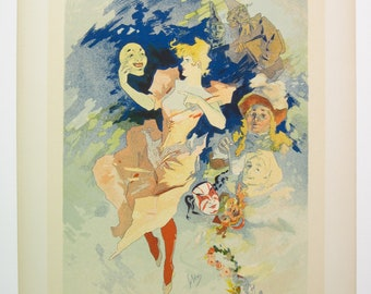 "Jules Cheret, Maitres de l'Affiches Poster, Paris 1900, Plate No. 205, One of 4 Panels, entitled ""The Comedy"", no text."