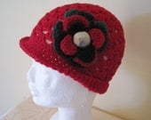 Red Mesh Crocheted Hat / Flower Beanie.