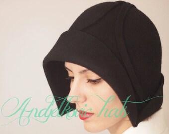 Women winter autumn Hat - Cloche hat  handmade black  felt - Vintage style cloche winter hat