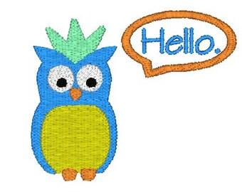 Hello Owl Machine Embroidery Design, owl embroidery design, owl pattern, friendship embroidery design, hello embroidery