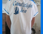 "Mens Vtg 60s CANDLELIGHT INN ""The 300"" White Blue Hipster Retro Car Club Rockabilly Bowling Shirt Sz Med 15-15.5 (shirt on reserve)"