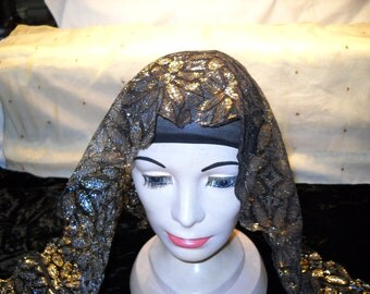 Vintage Triangle Scarf With Black Gold And Silver