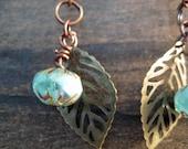 Sky Blue Czech Glass Cruller Beads with Bronze Filigree Leaf earrings