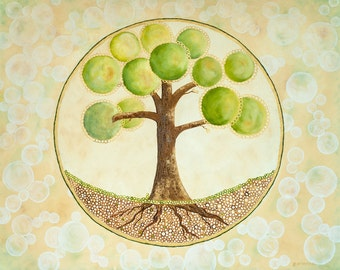 Tree painting on Canvas Art by Glorianna Abstract Original Oil Painting Bubbles Brown Green  Large Canvas 30' x 24""