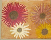 Gerber Daisies Original Acrylic Hand Painted on Canvas 16x20 Wall Art by CEE / Owner of ArtCee Gallery