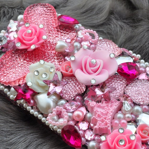 Custom iphone 5 rhinestone case in Pink Butterfly with Swarovski Bling ...
