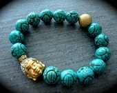 Golden Buddha Pave On Carved Turquoise Stretchy Bracelet