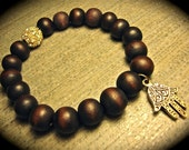 Hamsa Hand Wooden Round Bracelet With Gold Pave Ball