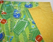 Football theme, Green and Yellow, Sport Flannel pillowcase set, Boys bedding, Childrens pillowcase