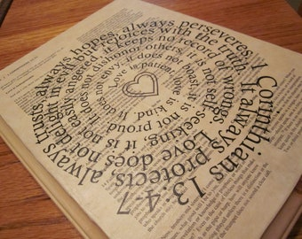 1 Corinthians 13 Spiral Scripture Bible Verse on Wood Plaque - Love Chapter - Love is patient, Love is kind...