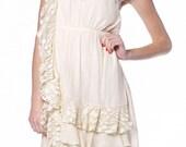 Vintage Lace Wedding Reception Rehearsal Dinner Dress Short Dress Cream One Shoulder