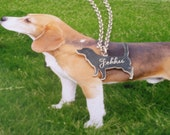 Custom Made Dog Pendant with Chain. A Silver Pendant with Your Pets Silhouette.