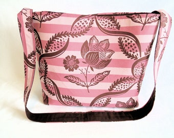 Amy Butler Charm Fabric Tote OOP Rare * Pink and Brown Handmade Tote * One of a Kind Tote