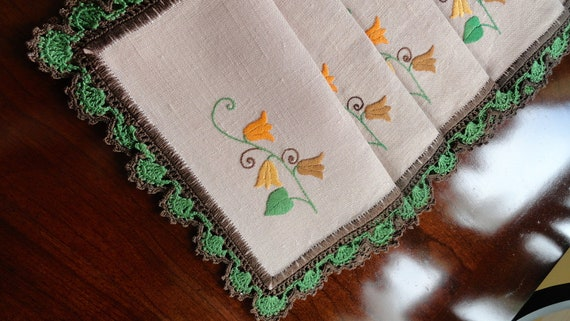 Vintage Crochet and Embroidered Linen Napkins Six, Autumn Colors