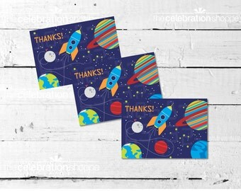SPACE Birthday Party Printable THANK YOU Note from The Celebration Shoppe