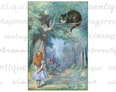 Alice Speaking to the Cheshire Cat Alice in Wonderland Digital Image Download Collage Sheet No.2821