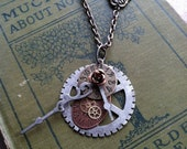 Steampunk unique watch face and gear pendant, key hole charm, clock hands, rose accent