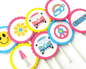 12 70s Cupcake Toppers, 70s Theme, Rainbow Toppers, Bus Toppers, 70s  Birthday