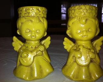 Two Ceramic Angels Vintage Angels Christmas Angels