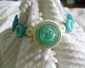Upcycled Vintage Teal Aqua Blue  Button Bracelet Jewelry Handmade MOP Mother of Pearl Old Buttons Re Purposed Retro Look