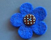 simple blue and spotty felt pin - badge