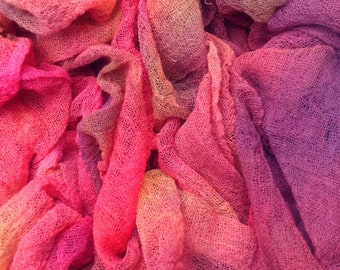 Hand Dyed Cotton Scrim, Gauze, Scarf for nuno felting, Art Cloth, Art and mixed media projects, Colour No.02 Antique Red, Ref.635