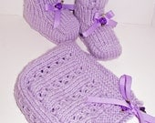 Lavander Baby Bonnet & Booties Set