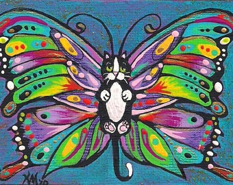 ACEO Darling Tuxedo Catterfly Butterfly Cat Kitten Fairy Fantasy Art MINI PRINT of original by K.McCants