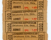 Vintage Tickets - Jamboree Supper Club - Oklahoma  -  Great for Collage, ATCs, Scrapbooking