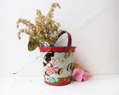 Vintage tin litho sand pail by Ohio Arts Co.