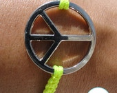 Peace Charm Friendship Bracelet Macrame Handmade Minimalist Jewelry Fluorescent Yellow