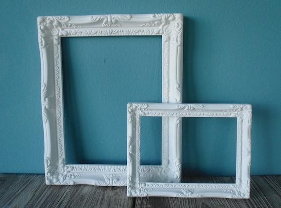 Pair Of Lovely White Shabby Chic Decorative Frames
