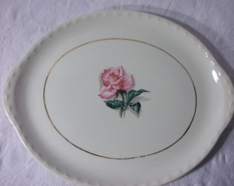 Large Vintage Platter with Handles. Red rose in center